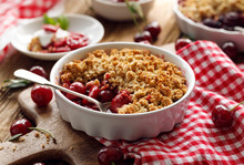 Cherry Crumble In A Baking Dis...