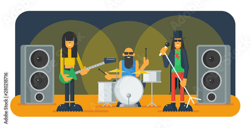Cuadros en Lienzo Rock band flat vector illustration