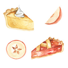 Set Of Watercolor Autumn Desserts And Fruits. Hand Painted Pies And Apples. Perfect For Menu, Posters, Cards And More.
