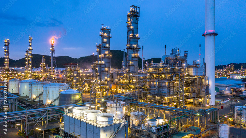 Fototapety, obrazy: Aerial view petrochemical plant and oil refinery plant background at night,  Petrochemical oil refinery factory plant at night.