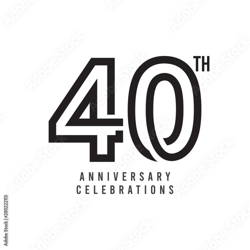 Papel de parede  40 Th Anniversary Celebration Vector Template Design Illustration