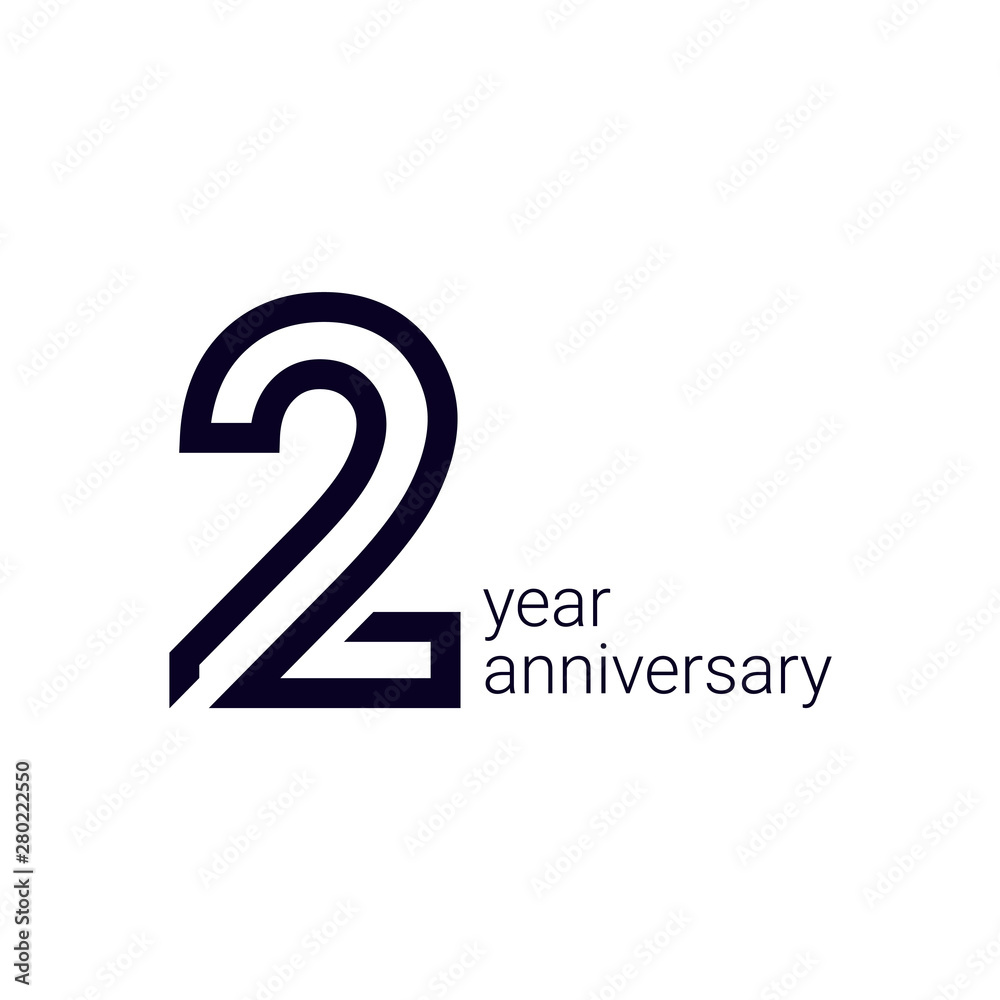 Fototapeta 2 Year Anniversary Celebration Vector Template Design Illustration