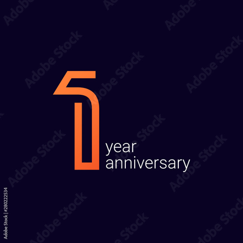 Fototapeta 1 Year Anniversary Celebration Vector Template Design Illustration obraz