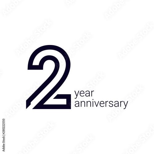 2 Year Anniversary Celebration Vector Template Design Illustration