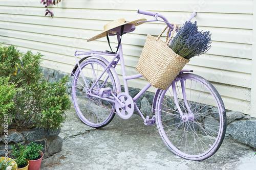 Foto auf Gartenposter Fahrrad lilac bike with a basket of lavender in the yard