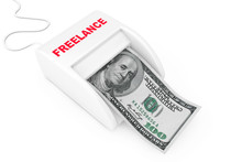 Make Money As Freelance Concept. Money Maker Freelance Machine With Dollars Banknote. 3d Rendering