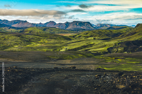 Montage in der Fensternische Grau Verkehrs Surreal and colorful landscape of Iceland with nobody around
