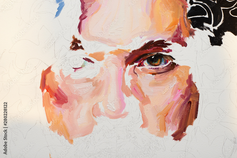 Painting male portrait oil on canvas in process