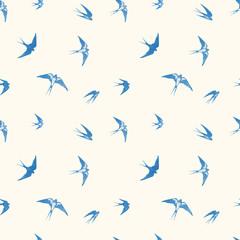 Panel Szklany Do pokoju dziewczyny Seamless pattern with black flying swallow birds