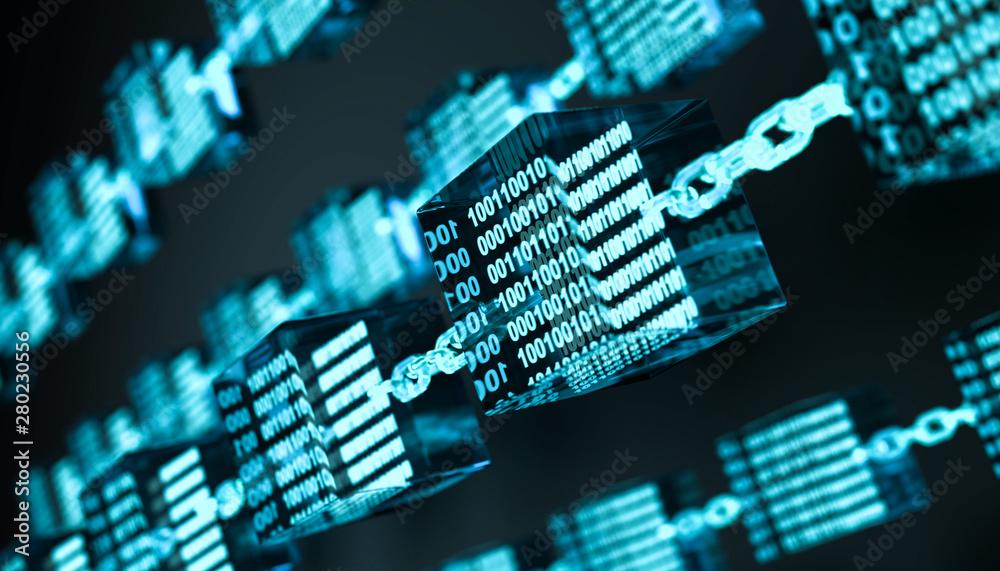 Fototapeta 3D Illustration Blockchain Technologie