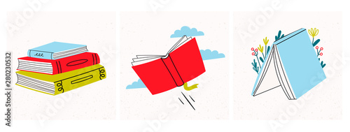 Fototapeta Read more books. Set of various books and stack of books. Hand drawn educational vector illustration. Flat design. Cartoon style obraz