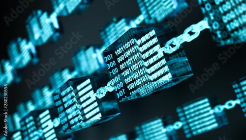 Obraz na plátně 3D Illustration Blockchain Technologie