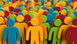 3D Illustration bunte Figuren in Menschenmenge