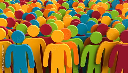 Leinwand Poster 3D Illustration bunte Figuren in Menschenmenge