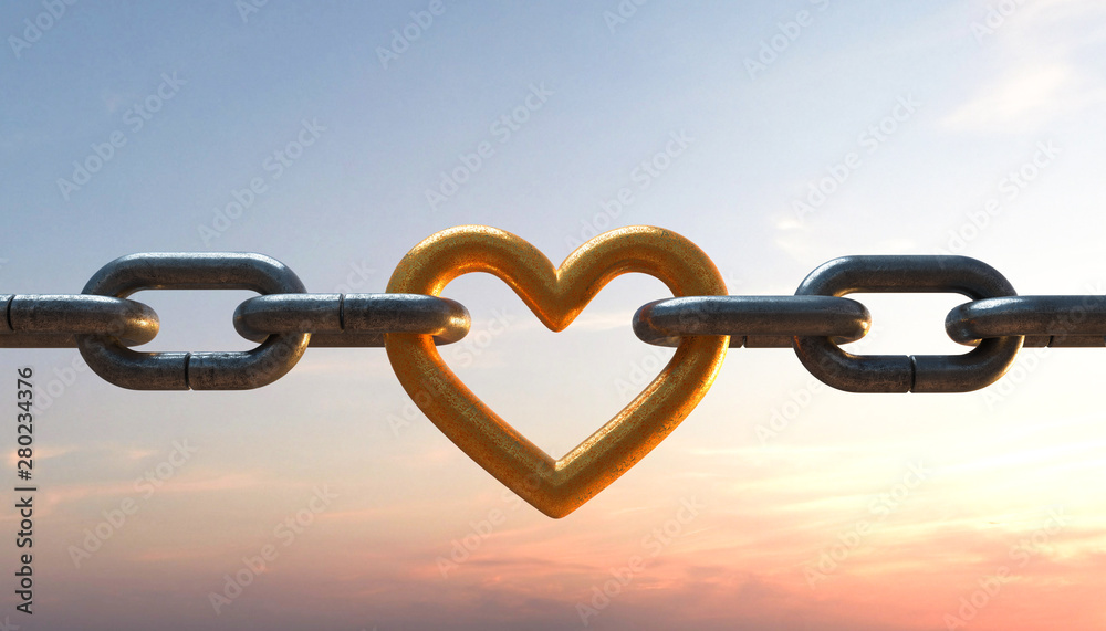 Fototapeta 3D Illustration Kette mit Herz