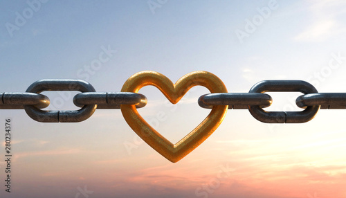 Fotografie, Tablou 3D Illustration Kette mit Herz