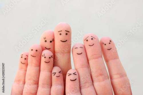 Fototapeta Fingers art of large family. obraz