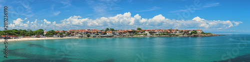 Panorama of Old Town of Sozopol, former ancient town of Apollonia, in Bulgaria. Sozopol is the famous seaside resort on the coast of Black Sea. Photo taken in spring before the start of high season.