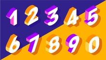 Vector Creative Set Of Isometric Number Typography On Bright Col