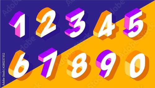 Fototapeta Vector creative set of isometric number typography on bright col obraz