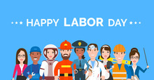 Happy Labor Day Group Of Diffe...