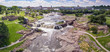 canvas print picture - Aerial panorama of the falls in Sioux Falls, South Dakota and Falls Park.