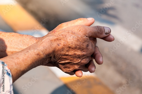 Hands of old woman,Labor hand at dirty ,concept for poverty or hunger people,hum Tapéta, Fotótapéta