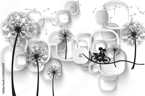 3d mural background White gray and silver background with silhouettes of dandelions with tunnel, modern 3d render . rectangular frames