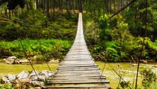 Suspension Bridge Over A River On Lang Bian Mountain, Vietnam, Southeast Asia