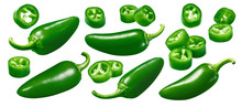 Green Hot Pepper Set Isolated ...