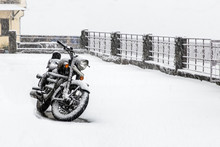Bike In Snowfall