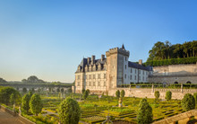 VILLANDRY CASTLE, FRANCE - JULY 07, 2017: The Garden Illuminated By 2,000 Candles At Dusk . Nights Of A Thousand Lights At Villandry Castle, France On July 07, 2017
