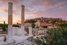Remains Of Hadrian's Library And Acropolis In The Old Town Of Athens,