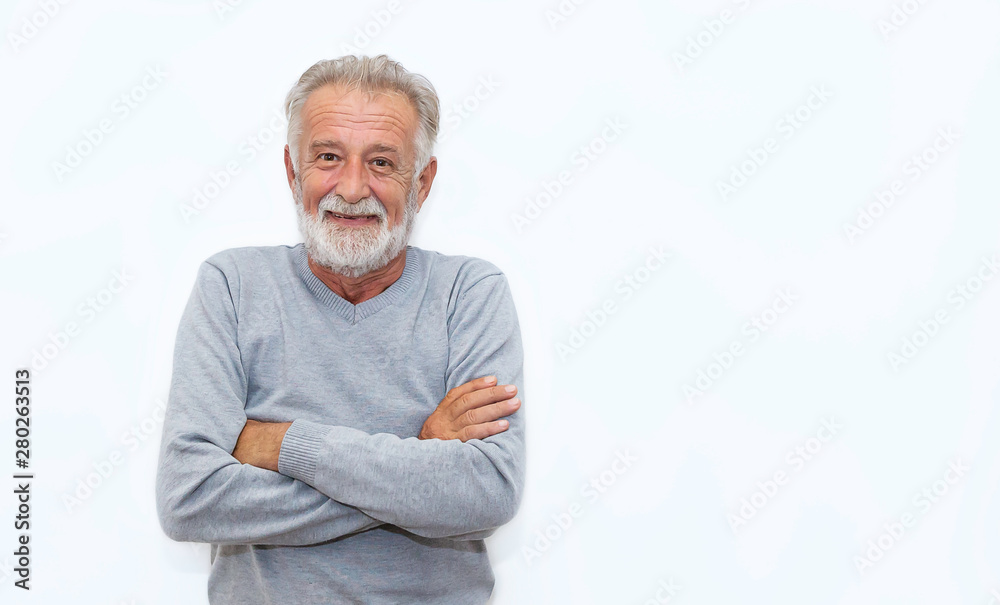 Fototapeta Portrait of healthy happy smile senior elderly caucasian old man face with arm crossed isolated on white. Golden age grand father healthcare cheerful lifestyle, freedom relax retirement concept