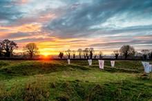 Sun Setting Over The Green Hills Of Ireland