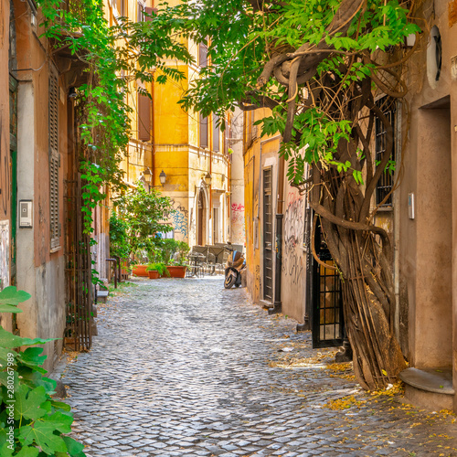 Cozy street in Trastevere, Rome, Italy, Europe.