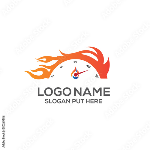 Fotomural Speed Meter Logo identity design template