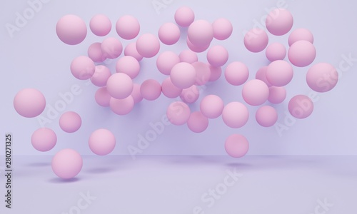 Fototapety, obrazy: Geometric purple abstract background with pink balloons. 3d rendering