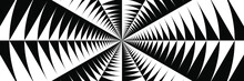 Abstract Black And White Geometric Pattern With Circles. Spiral Optical Psychedelic Illusion. Striped Wicker Texture. 3D Illustration