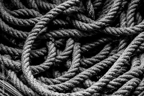 Fotografie, Obraz  Black and white photo of the tangled rope