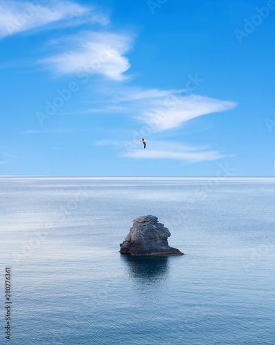 Poster de jardin Oiseau Lone rock over calm sea and flying bird over blue sky. Northen Sporades, Greece