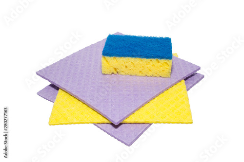 Fotografía Accessories for cleaning washcloth on a white background