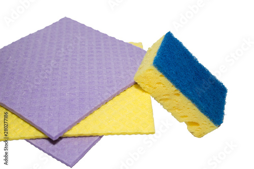 Papel de parede Accessories for cleaning washcloth on a white background