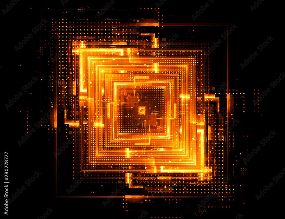 Fototapety, obrazy: Abstract dark background. Bright box. Shine square. Sci fi shape. Light golden geometry. Smart code. Energy effect. Big data. Vivid streak. Vibrant strings. Digital chip. Glare grid lines. Cubes