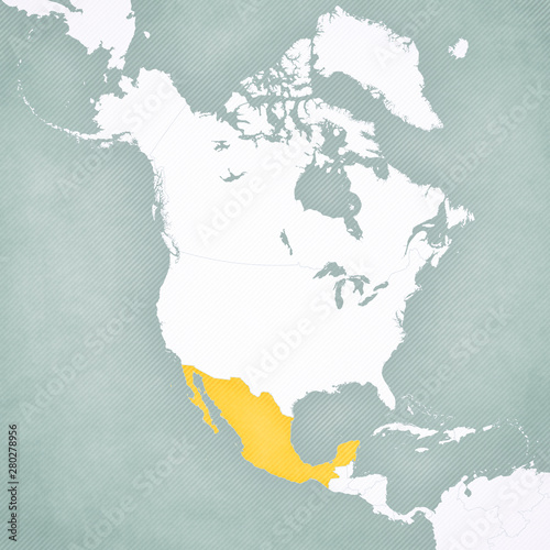 Map of North America - Mexico Wall mural