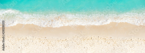 Waves on the sand beach sea edge view from