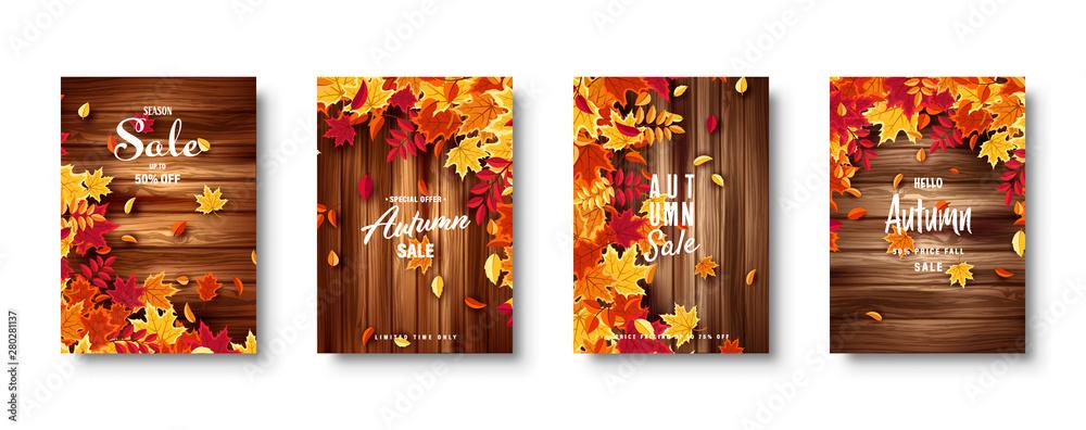 Fototapeta Autumn falling leaves. Banner set. Nature background with red, orange, yellow foliage. Flying leaf. Season sale. Vector illustration.