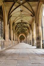 UK, Cambridge - August 2018: St John's College - New Court, Inside The Portico