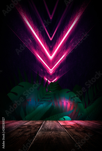 Night concept of a wooden table scene. Tropical leaves neon light. Blank poster, scene night view. - 280283127
