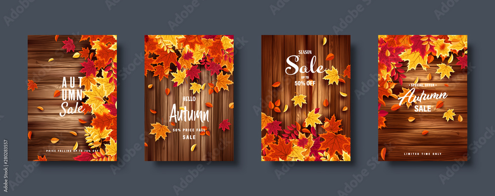 Fototapety, obrazy: Autumn falling leaves. Banner set. Nature background with red, orange, yellow foliage. Flying leaf. Season sale. Vector illustration.